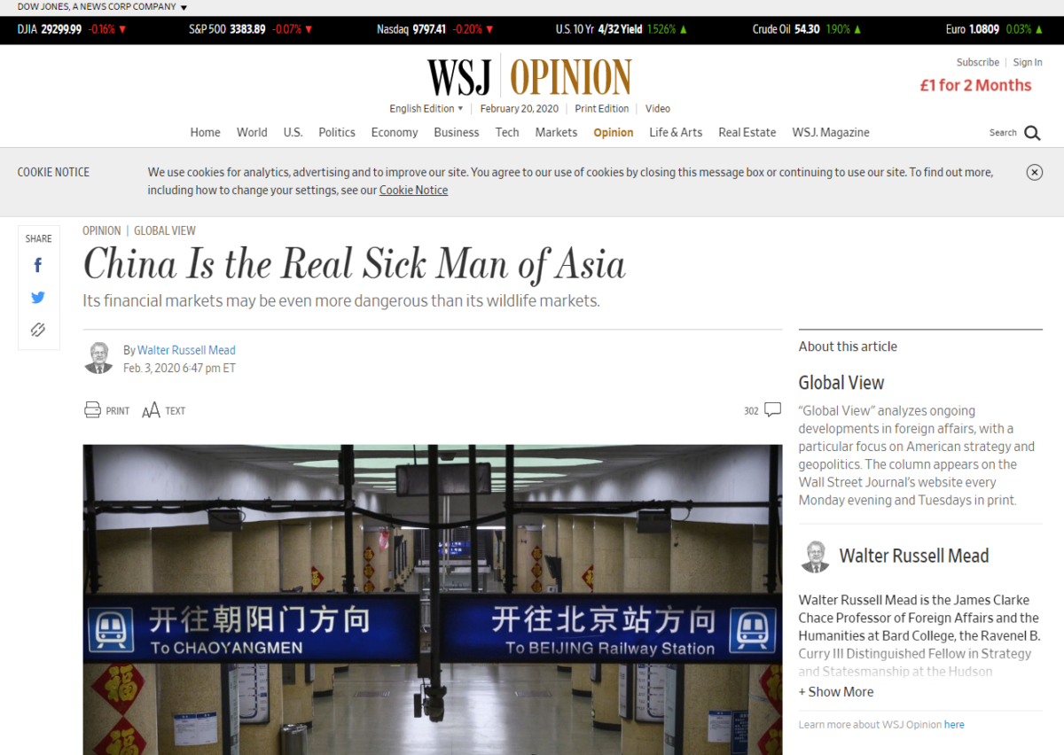 China expels three Wall Street Journal reporters over 'sick man of Asia' headline