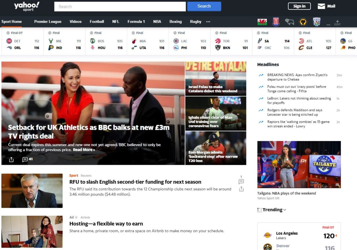 Yahoo Sports axes UK editorial team to focus on US sports