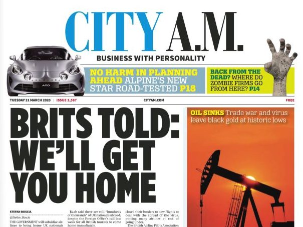 City AM staff put on furlough and digital edition suspended during Covid-19 pandemic