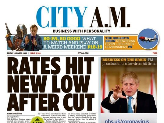 City AM suspends print and cuts salaries as coronavirus hits business