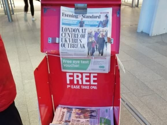 Evening Standards available at London Bridge