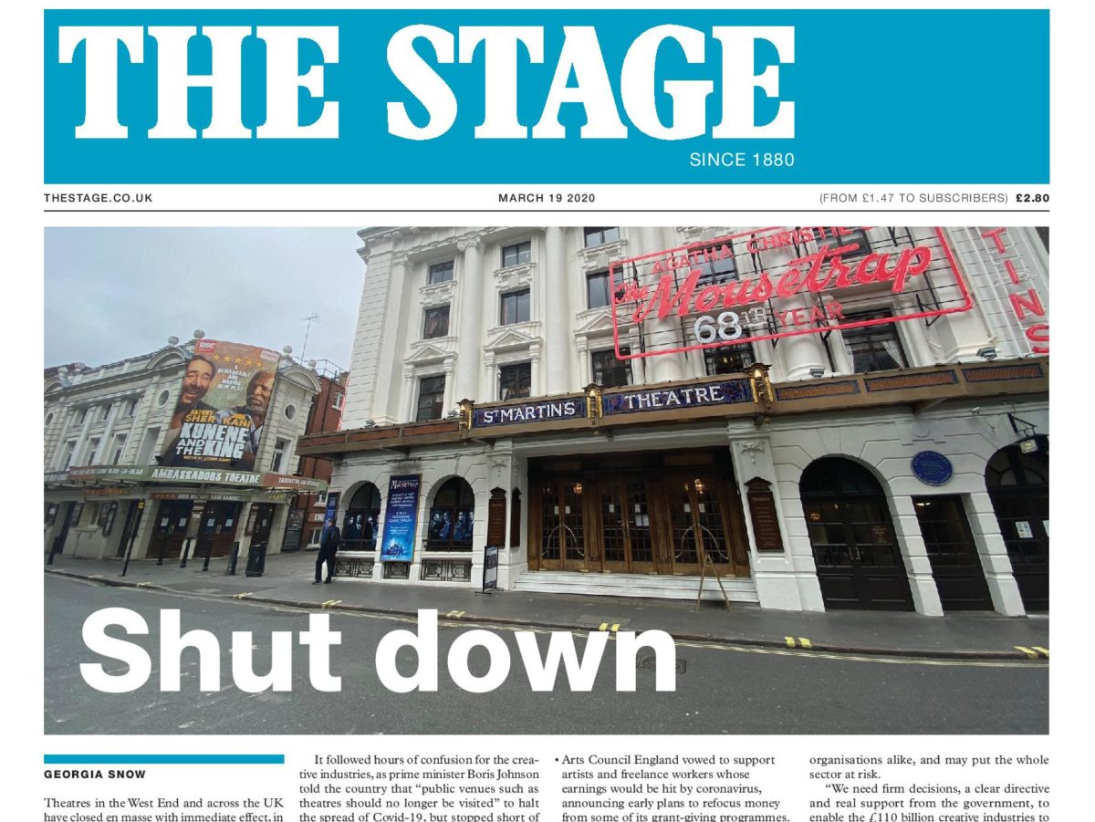 The Stage acting as 'community glue' for theatre industry amid Covid-19 shutdown, says editor
