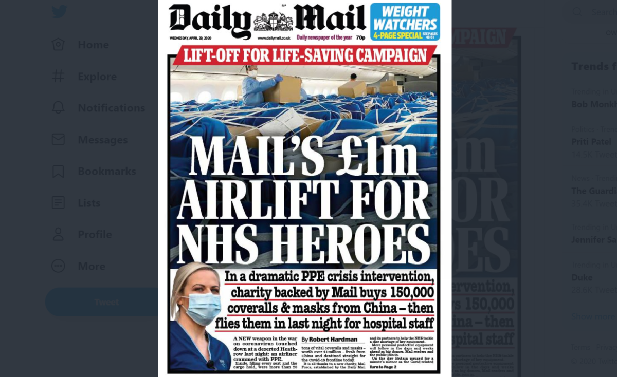 Daily Mail flies £1m worth of PPE supplies from China to Heathrow as it launches Mail Force charity push
