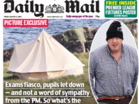 Daily Mail splash Boris Johnson camping