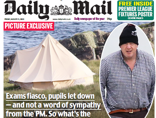 Poll: Majority say Daily Mail was wrong to publish pics of Boris Johnson secret holiday hideaway