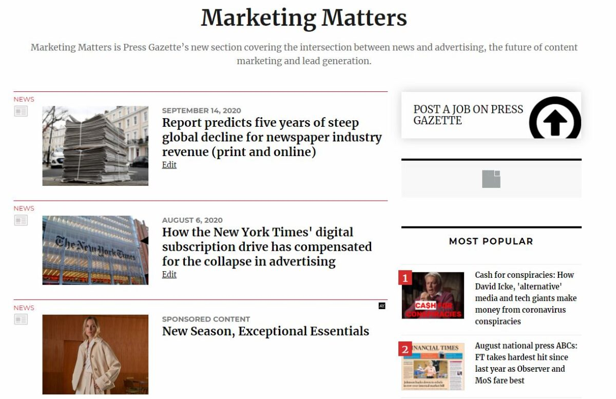 Marketing Matters: Sign up for Press Gazette's new free fortnightly briefing about the intersection of news and advertising