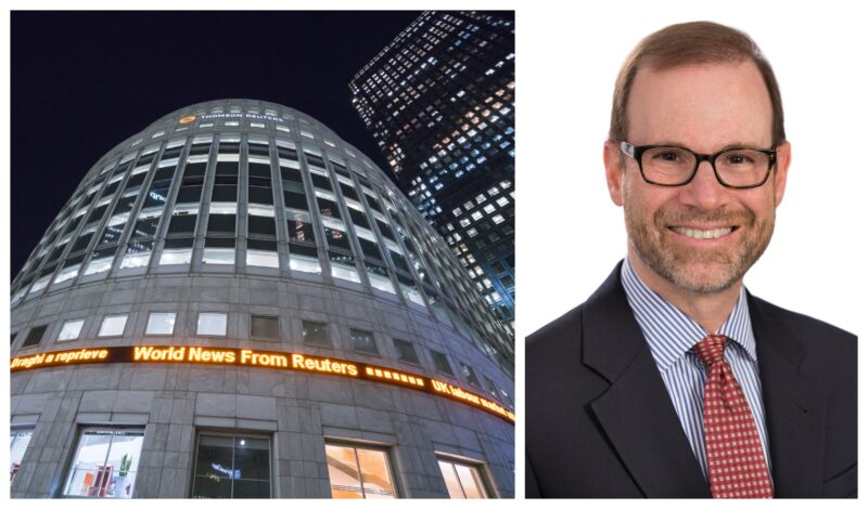 Left: Reuters news building (credit: Shutterstock/4kclips). Right: Reuters editor-in-chief Stephen Adler