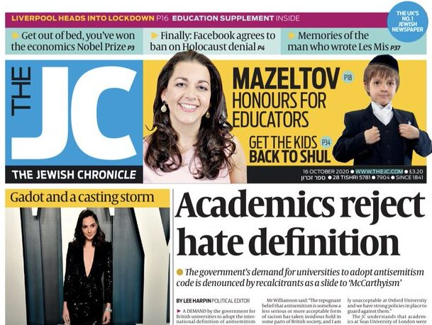 Jewish Chronicle pays damages over claims councillor invited 'anti-Semitic' activist to event