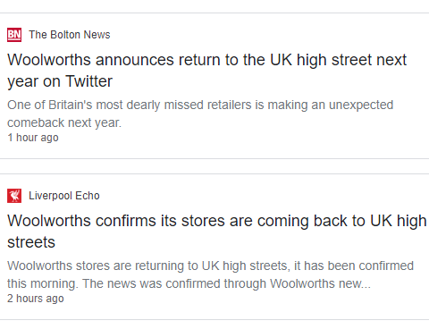 News websites duped by tweet claiming Woolworths is returning to high streets