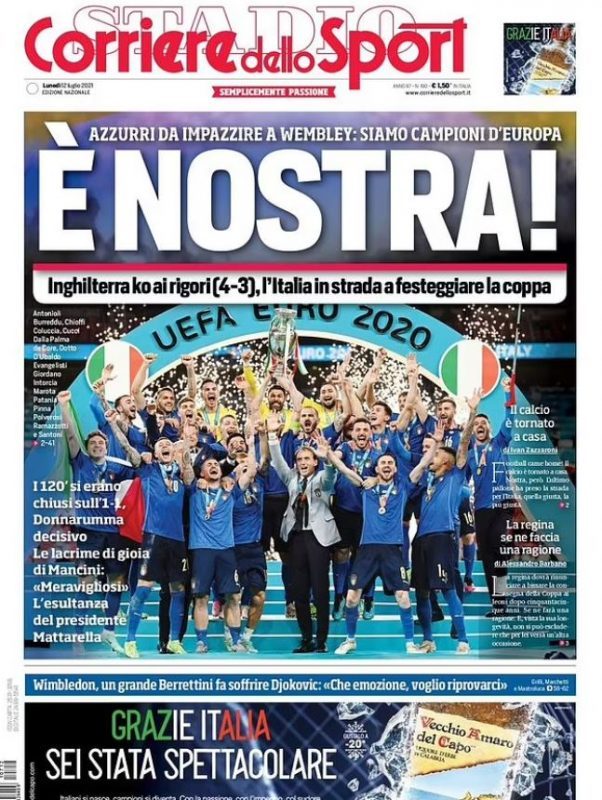 Euro final newspaper front pages: Corriere dello Sport