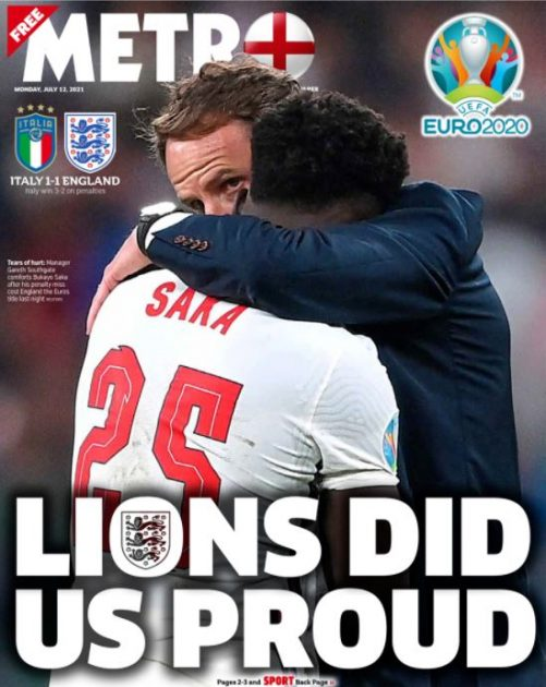 Euro final front pages: Metro
