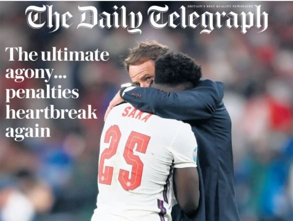 Getty pic of Southgate consoling Saka dominates UK Euro 2020 final newspaper front pages