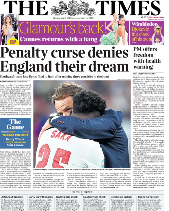 Euro final newspaper front pages: The Times