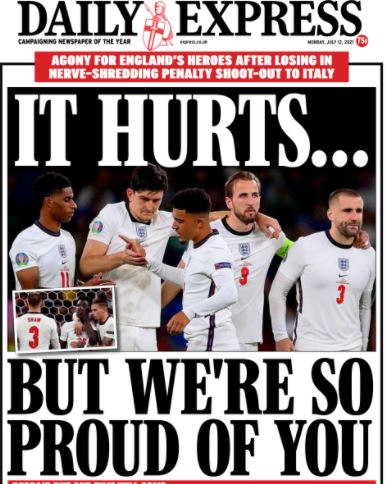 Euro final front pages: Daily Express