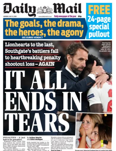 Euro final front pages: Daily Mail
