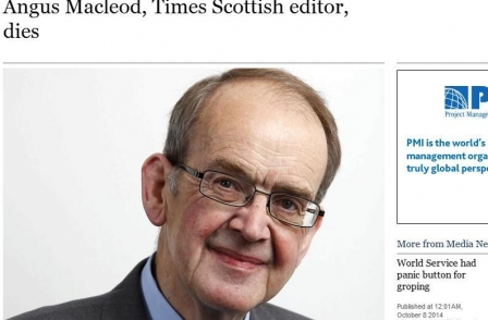 Times Scottish editor Angus Macleod dies: 'Scotland has lost one of the most distinctive and authoritative voices'