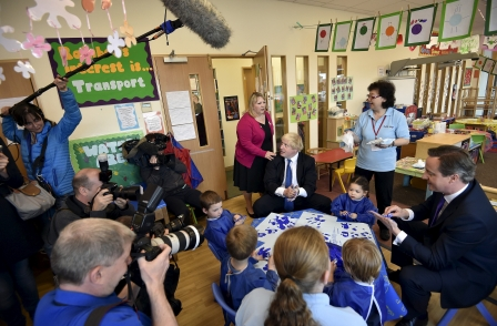 'Campaign control freakery' sees journalists 'cordoned off' from Cameron and Johnson nursery visit