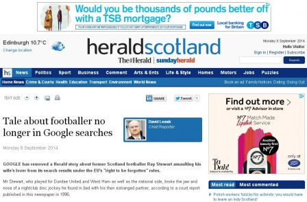 Herald reveals that Scottish footballer who broke man's jaw has Google 'right to be forgotten'