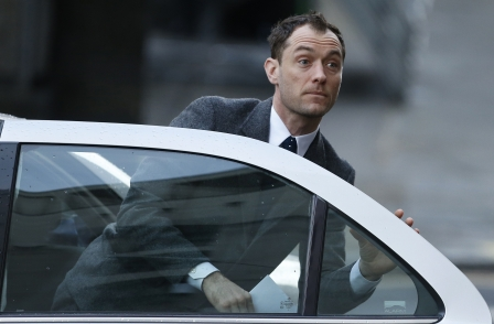 Jude Law arrives at the Old Bailey to give evidence in phone-hacking trial