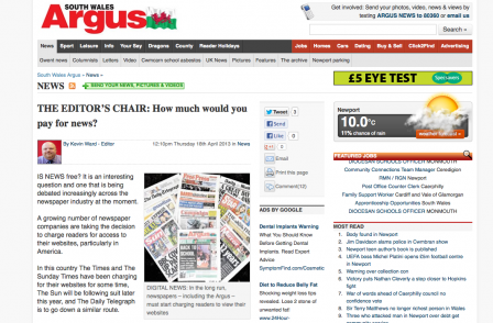 How much will South Wales Argus readers pay for online news? Not much it would seem