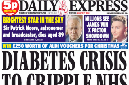 Daily Express editor Hugh Whittow presented with award for diabetes coverage at No 10