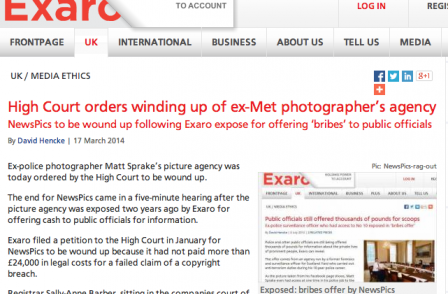 Photo agency NewsPics wound up after failed copyright claim against investigative journalism site Exaro