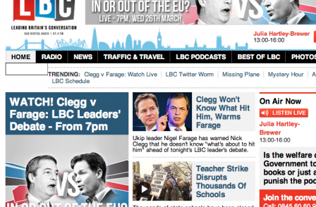 Sky News and LBC team up for Nick Clegg-Nigel Farage EU debate tonight