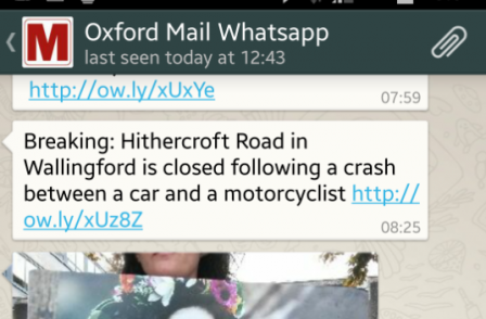 Oxford Mail embeds news updates in readers' phones via Whatsapp