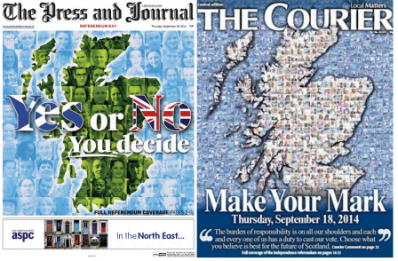 Scottish daily papers all say 'no' or stay neutral on independence as readers go to the polls