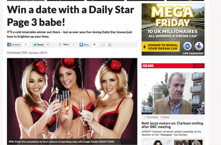 Daily Star 'win a date with page 3 model' ad banned for being  'sexist, offensive and socially irresponsible'