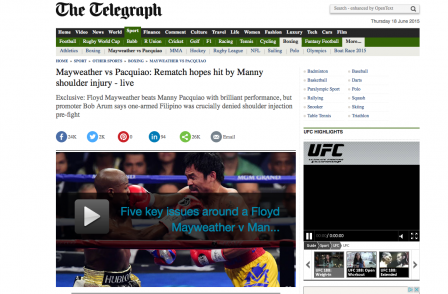 Website ABCs: Telegraph floors rivals with Mayweather fight coverage, BBC wins most general election readers