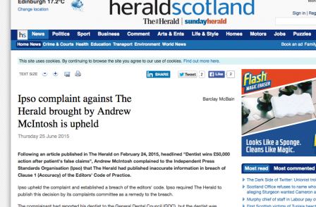 Herald ordered by IPSO to say sorry over story based on false information from court clerk