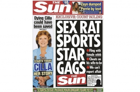 A1, husband of A2, wins injunction against exposure of affair with X in R - or: 'Sex rat sports star gags The Sun'
