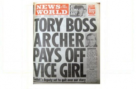 15. British journalism's greatest ever scoops: Tory Boss Archer pays off vice girl (News of the World, 1986)