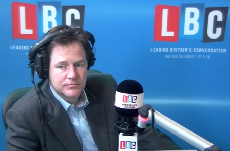 Nick Clegg nominated for two Radio Academy awards for LBC phone-in show