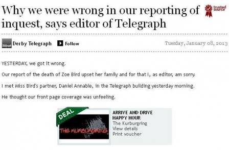 Derby Telegraph editor 'mortified' that family and friends of young mum were distressed by inquest coverage