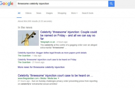 Report: Celebrity injunction couple seek removal of weblinks from Google