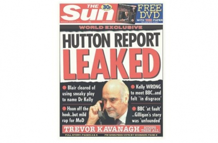 35. British journalism's greatest ever scoops: Hutton Report Leaked (The Sun (Trevor Kavanagh), 2004)