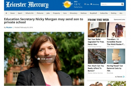 Leicester Mercury: Nicky Morgan has stopped column after report she may send child to private school