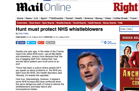 Whistleblower who told Daily Mail hospital 'fixed' its death rates is facing the sack