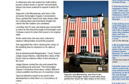 Daily Mail apologises and pays damages to woman who painted red stripes on front of Kensington townhouse