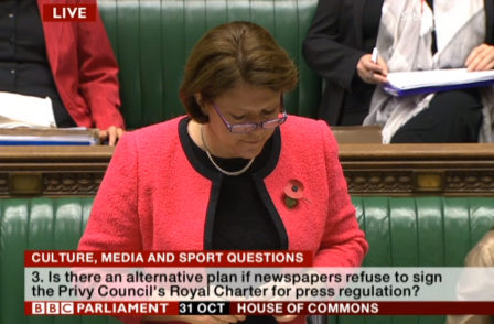 Maria Miller says Royal Charter route best way to avoid 'statutory regulation of the press'