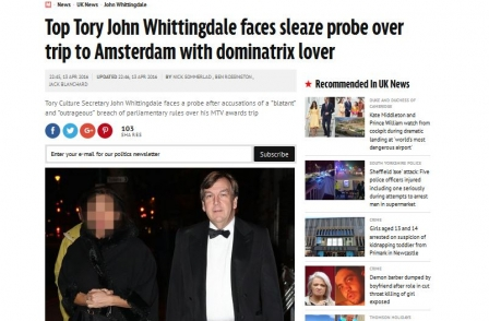 Source says Whittingdale did not need to declare £534.82 cost of trip with girlfriend to MTV awards