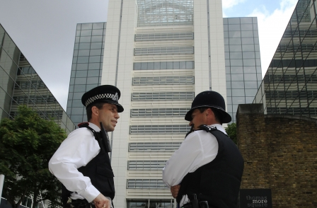 Police outside News Internaitonal HQ in Wapping. Pic: Reuters