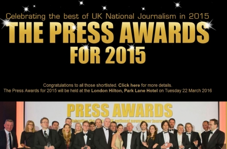 Press Awards for 2015: Live video feed from 7.45pm