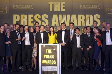 Mail on Sunday named newspaper of the year at the Society of Editors Press Awards for 2015