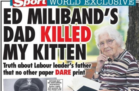 Sunday Sport accuses Ralph Miliband of killing a kitten