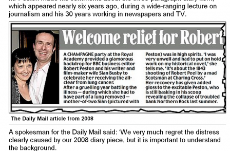 Daily Mail apologises over diary story which revealed seriousness of Robert Peston's late wife's illness