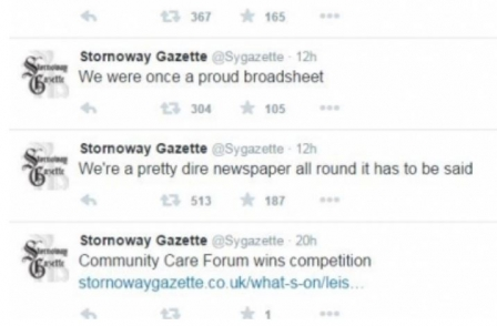 Stornoway Gazette Twitter feed goes rogue