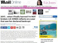 Mail on Sunday columnist Liz Jones reveals she has been declared bankrupt